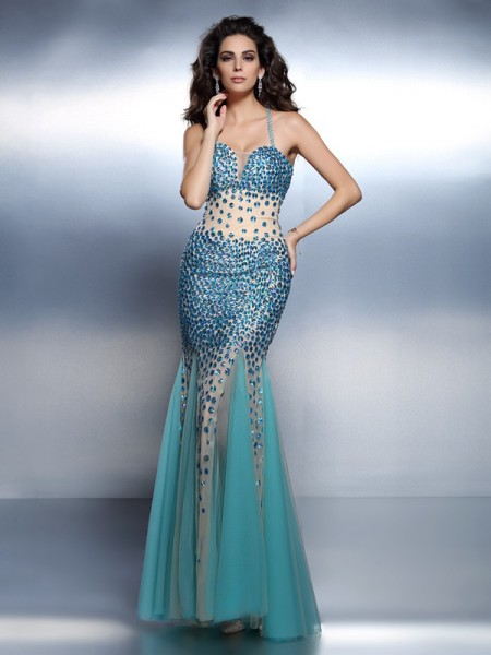 Trumpet/Mermaid Satin Spaghetti Straps Sleeveless Rhinestone Floor-Length Dresses