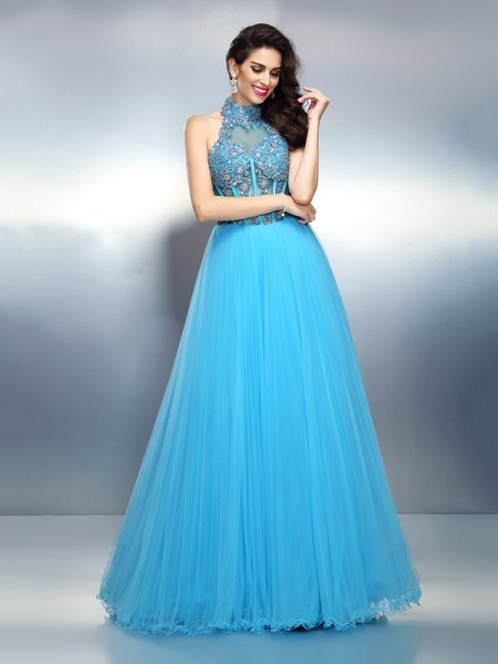 A-Line/Princess Satin High Neck Sleeveless Floor-Length Beading Dresses