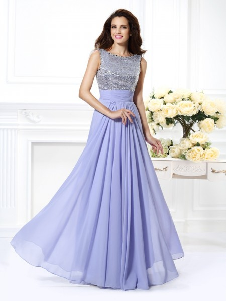 A-Line/Princess Chiffon Lace Bateau Sleeveless Floor-Length Dresses