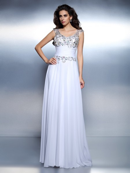 A-Line/Princess Chiffon Scoop Sleeveless Sweep Train Beading Dresses