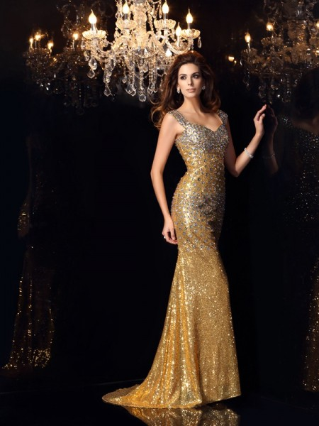 Trumpet/Mermaid Sequins Straps Sleeveless Floor-Length Rhinestone Dresses