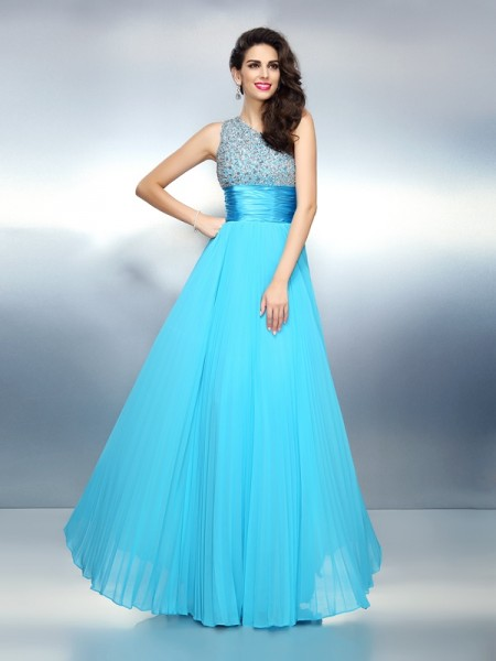 A-Line/Princess One-Shoulder Sleeveless Chiffon Floor-Length Dresses
