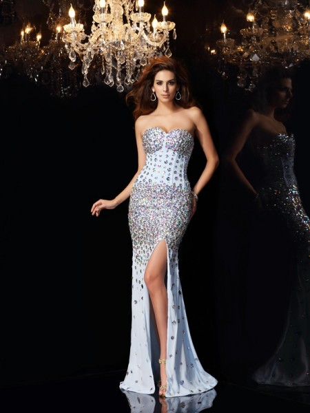 Trumpet/Mermaid Chiffon Sweetheart Sleeveless Rhinestone Sweep/Brush Train Dresses