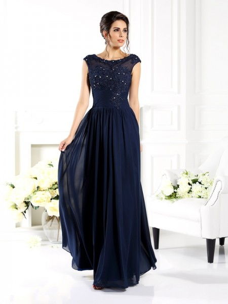 A-Line/Princess Chiffon Scoop Sleeveless Floor-Length Beading Mother of the Bride Dresses