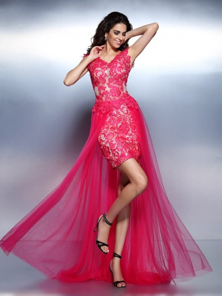 A-Line/Princess V-neck Lace Sleeveless Floor-Length Dresses