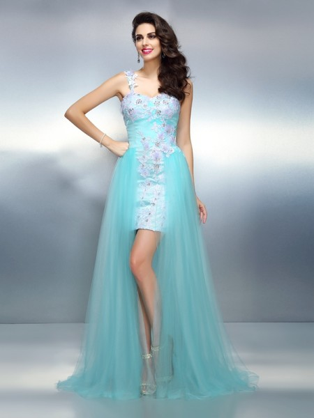 Sheath/Column Elastic Woven Satin Applique One-Shoulder Sleeveless Sweep/Brush Train Dresses