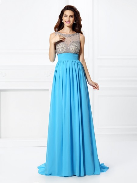 A-Line/Princess Chiffon Beading Bateau Sweep/Brush Train Sleeveless Dresses