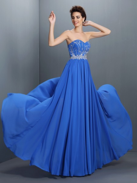 A-Line/Princess Beading Sweetheart Sleeveless Chiffon Floor-Length Dresses