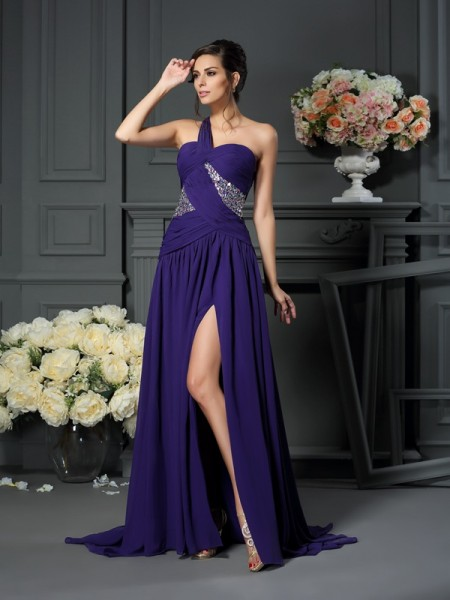 A-Line/Princess Chiffon Beading One-Shoulder Sweep/Brush Train Sleeveless Dresses