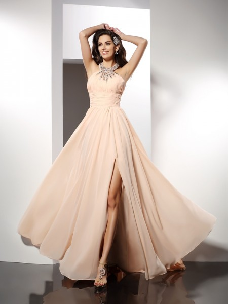 A-Line/Princess Chiffon Ruffles Jewel Sleeveless Sweep/Brush Train Dresses
