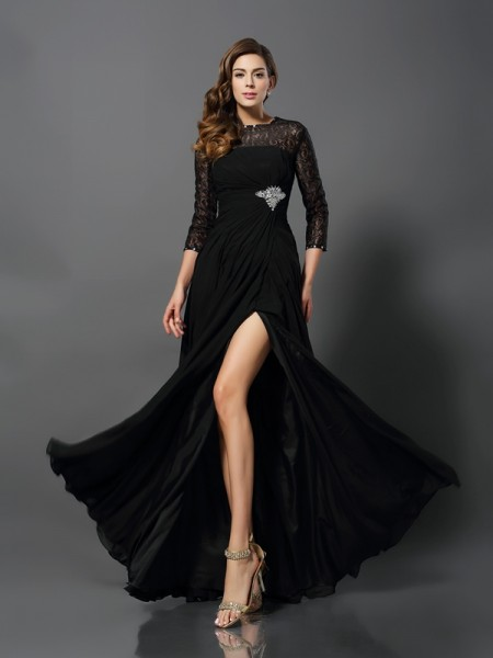 A-Line/Princess Lace Bateau 3/4 Sleeves Floor-Length Dresses