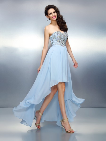 A-Line/Princess Chiffon Ruffles Sweetheart Asymmetrical Sleeveless Dresses