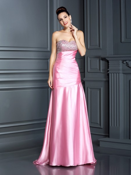 Trumpet/Mermaid Elastic Woven Satin Beading Sweetheart Sleeveless Sweep/Brush Train Dresses