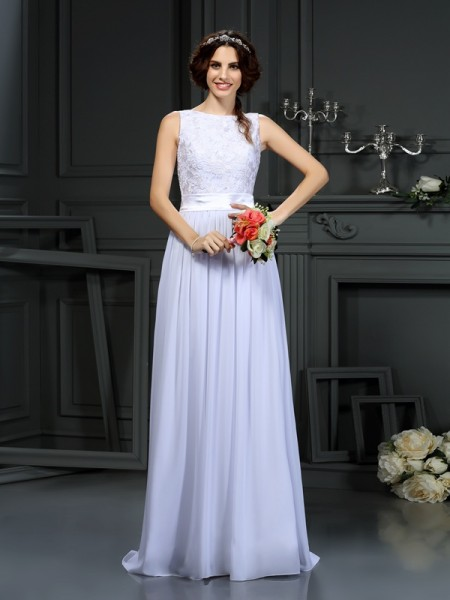 A-Line/Princess Chiffon Lace Scoop Sleeveless Floor-Length Wedding Dresses