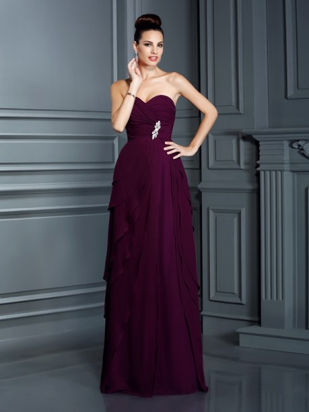 A-Line/Princess Sweetheart Chiffon Sleeveless Ruffles Floor-Length Dresses