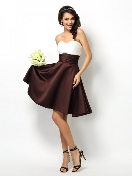 65bbf5ec5b89 A-Line/Princess Satin Sweetheart Sleeveless Short/Mini Pleats Bridesmaid  Dresses