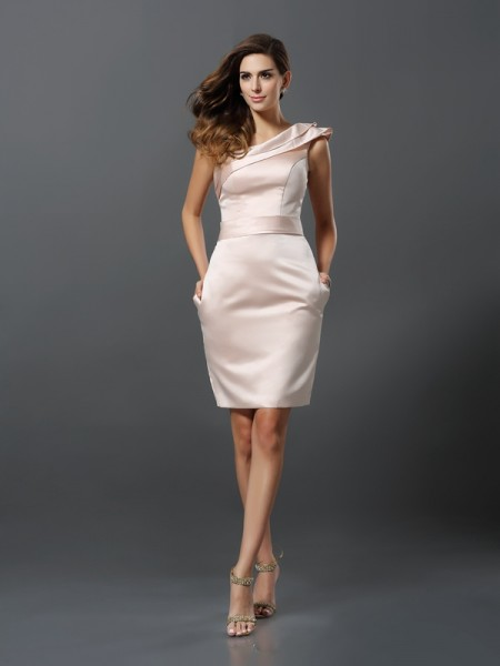 Sheath/Column Satin One-Shoulder Knee-Length Sleeveless Dresses
