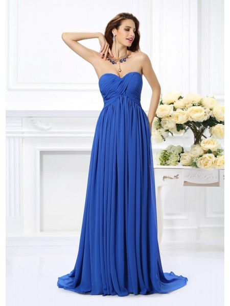 A-Line/Princess Sweetheart Sleeveless Ruched Chiffon Chapel Train Dresses