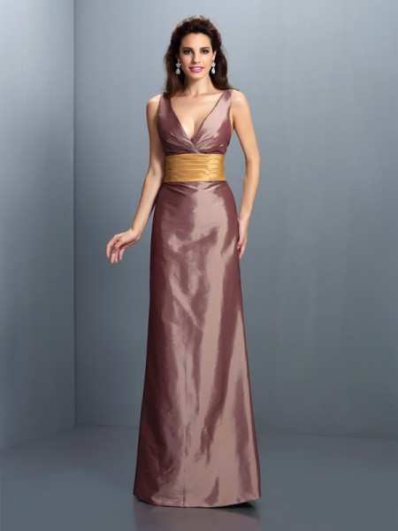 Sheath/Column Taffeta V-neck Sleeveless Floor-Length Pleats Dresses