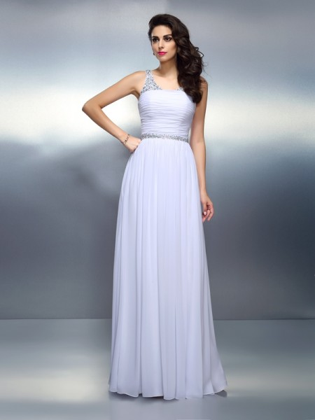 A-Line/Princess Scoop Chiffon Beading Floor-Length Sleeveless Dresses