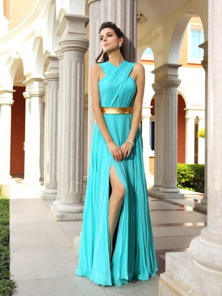 A-Line/Princess Pleats Sleeveless Chiffon Floor-Length Dresses
