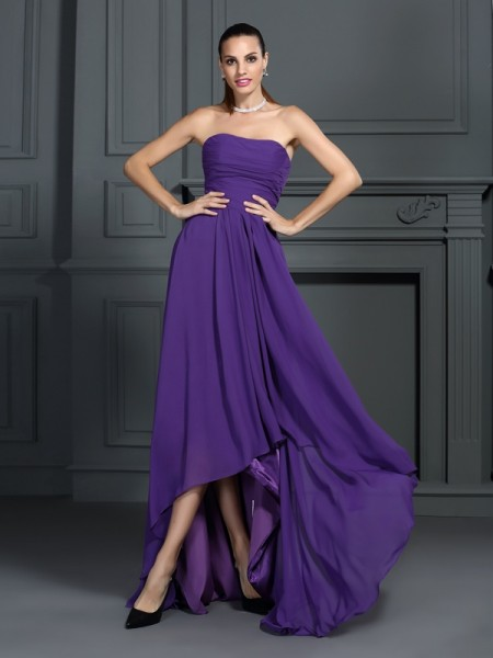 A-Line/Princess Chiffon Pleats Strapless Asymmetrical Sleeveless Dresses