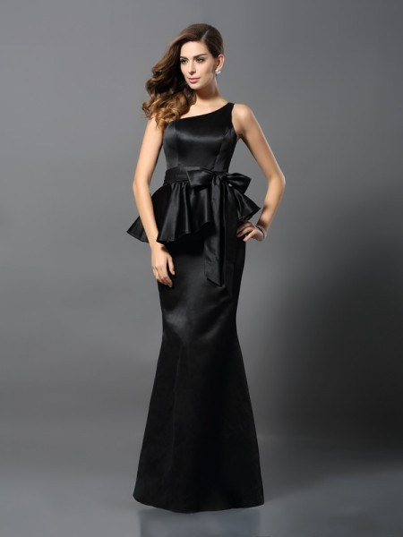 Trumpet/Mermaid Satin Bowknot One-Shoulder Sleeveless Floor-Length Dresses