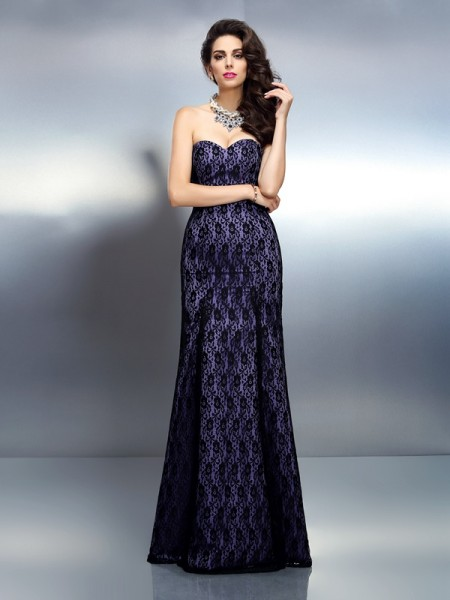 Trumpet/Mermaid Sweetheart Satin Sleeveless Floor-Length Lace Dresses