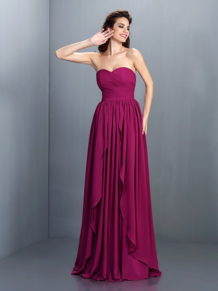 A-Line/Princess Chiffon Sweetheart Sleeveless Pleats Floor-Length Dresses
