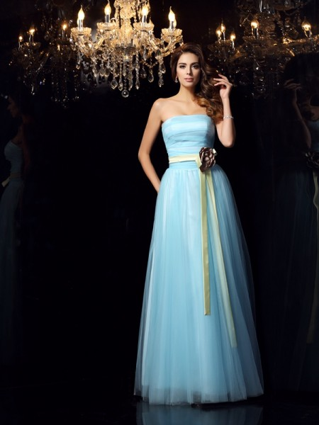 Ball Gown Satin Strapless Sleeveless Sash/Ribbon/Belt Floor-Length Dresses