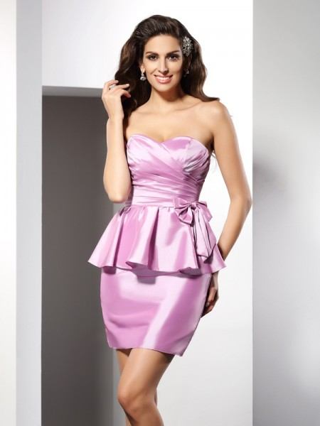 Sheath/Column Taffeta Bowknot Sweetheart Sleeveless Short/Mini Dresses