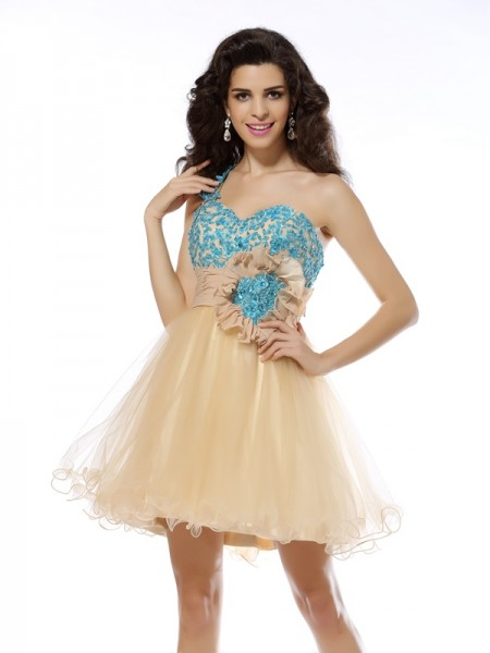 A-Line/Princess Net One-Shoulder Sleeveless Applique Short/Mini Dresses