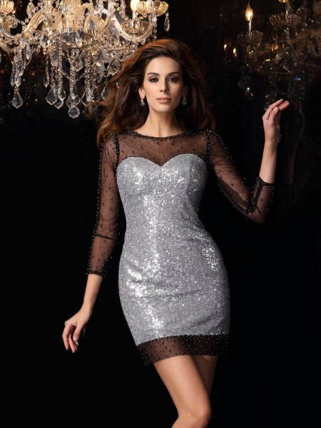 Sheath/Column Scoop Sequins 3/4 Sleeves Short/Mini Beading Dresses