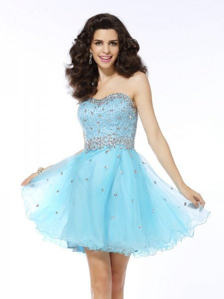 A-Line/Princess Organza Sweetheart Sleeveless Short/Mini Ruffles Dresses