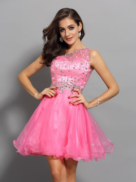 A-Line/Princess Organza Ruffles One-Shoulder Sleeveless Short/Mini Dresses