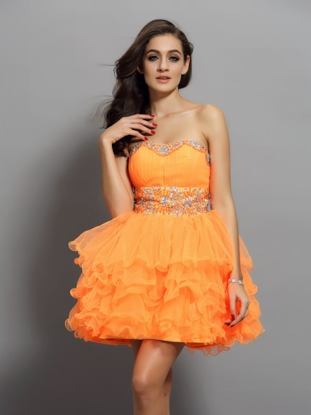 A-Line/Princess Satin Ruffles Sweetheart Sleeveless Short/Mini Dresses