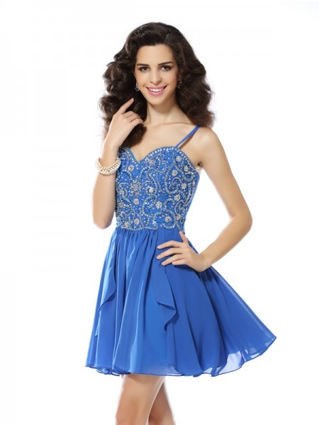 A-Line/Princess Chiffon Beading Spaghetti Straps Sleeveless Short/Mini Dresses