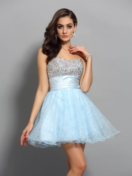 A-Line/Princess Beading Sweetheart Sleeveless Chiffon Short/Mini Dresses
