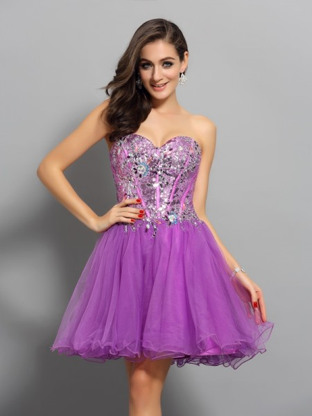A-Line/Princess Satin Sweetheart Sleeveless Short/Mini Dresses