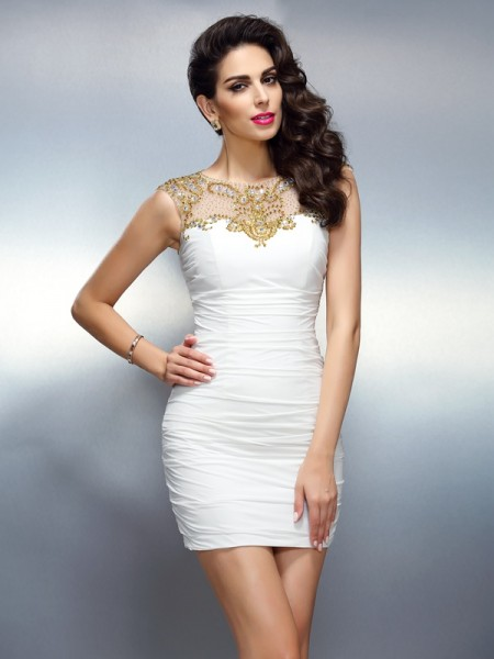 Sheath/Column Chiffon Beading Bateau Sleeveless Short/Mini Dresses