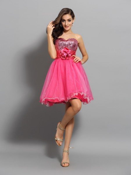 A-Line/Princess Net Ruffles Sweetheart Sleeveless Short/Mini Dresses