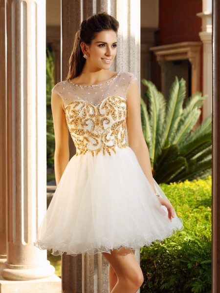 A-Line/Princess Net Scoop Sleeveless Ruffles Short/Mini Dresses