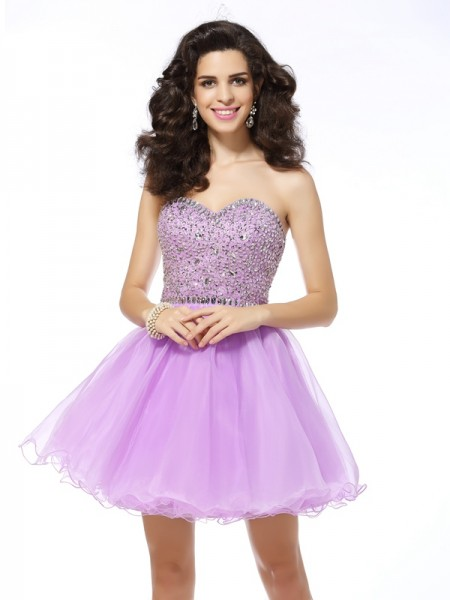 A-Line/Princess Organza Sweetheart Sleeveless Ruffles Short/Mini Dresses