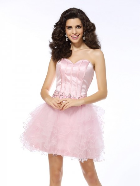 A-Line/Princess Net Sweetheart Sleeveless Ruffles Short/Mini Dresses