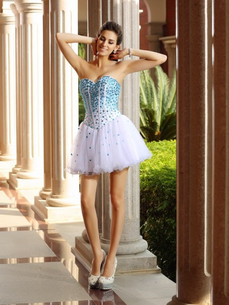 A-Line/Princess Tulle Sweetheart Sleeveless Ruffles Short/Mini Dresses