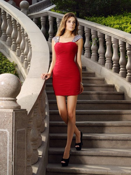 Sheath/Column Chiffon Straps Sleeveless Beading Short/Mini Dresses