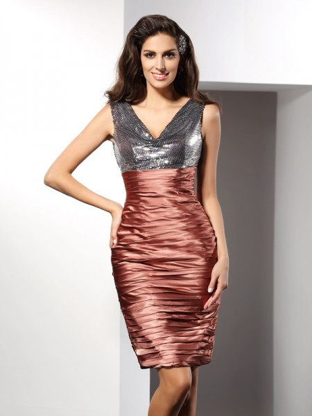 Sheath/Column Silk like Satin V-neck Sleeveless Knee-Length Dresses