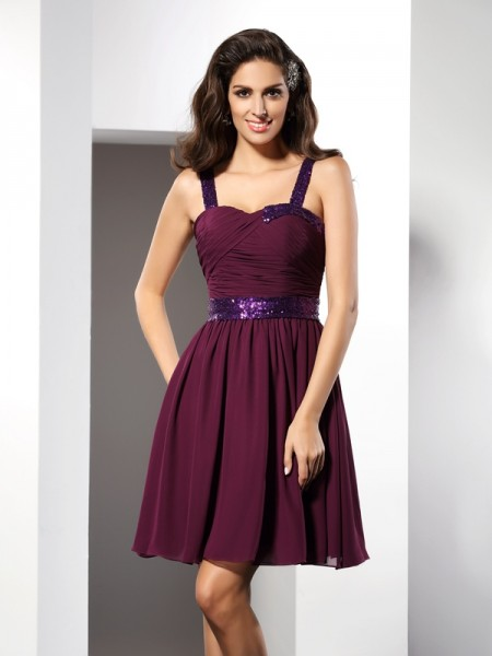 A-Line/Princess Chiffon Straps Sleeveless Ruched Short/Mini Dresses