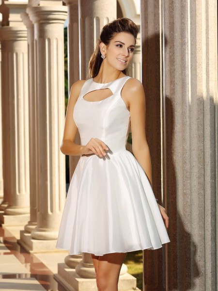A-Line/Princess Satin High Neck Sleeveless Short/Mini Dresses