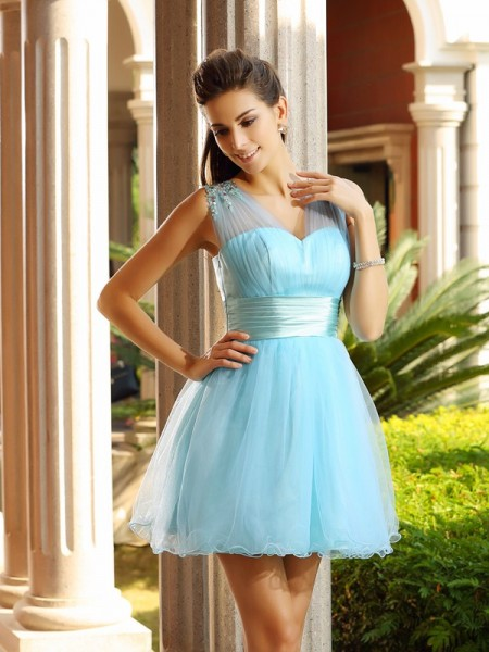 A-Line/Princess Net V-neck Sleeveless Beading Short/Mini Dresses